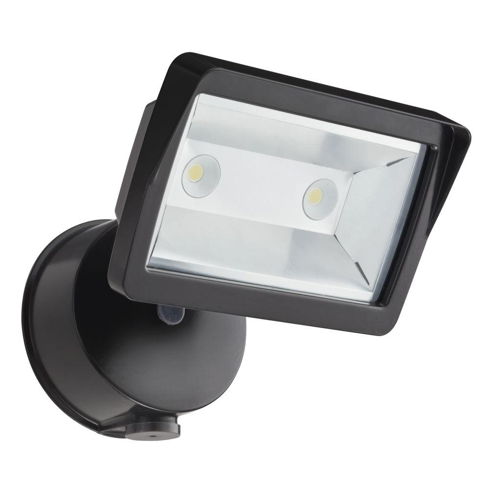 Popular Photo of Lithonia Lighting Wall Mount Outdoor Bronze Led Floodlight With Motion Sensor