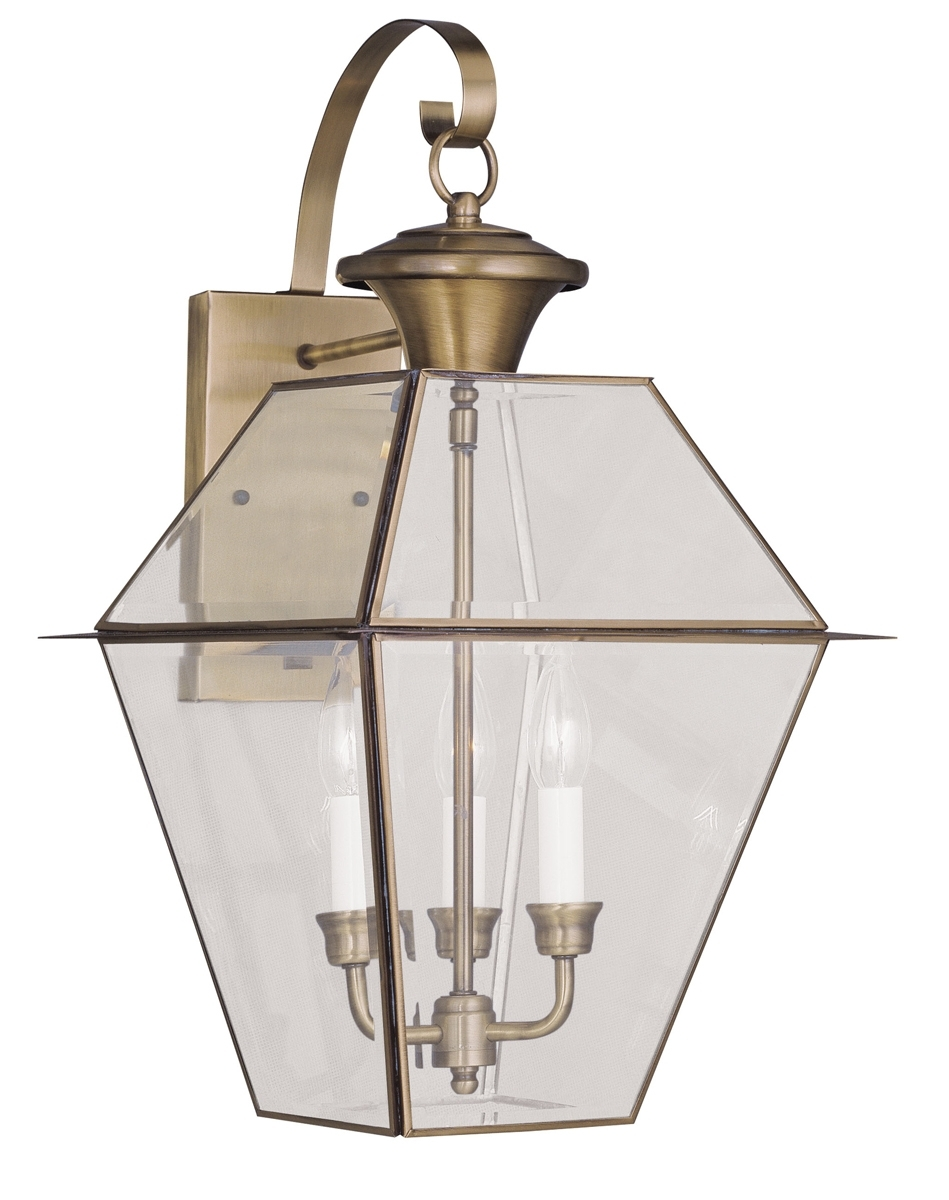 Livex Lighting (2381) Westover 3 Light Outdoor Wall Lantern Shown In With Brass Outdoor Ceiling Lights (#11 of 15)