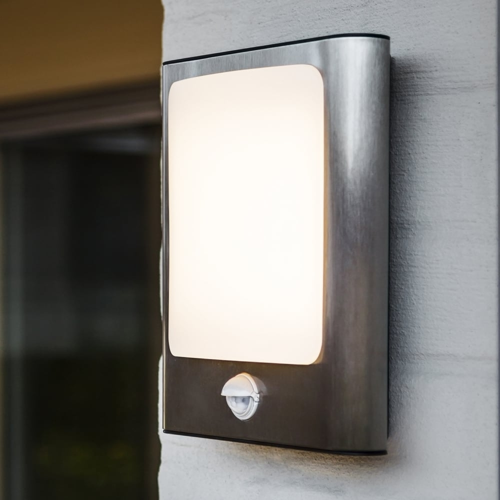Lutec Face 13W Pir Exterior Led Wall Light In Stainless Steel With Regard To Outdoor Led Wall Lights With Pir (#6 of 15)