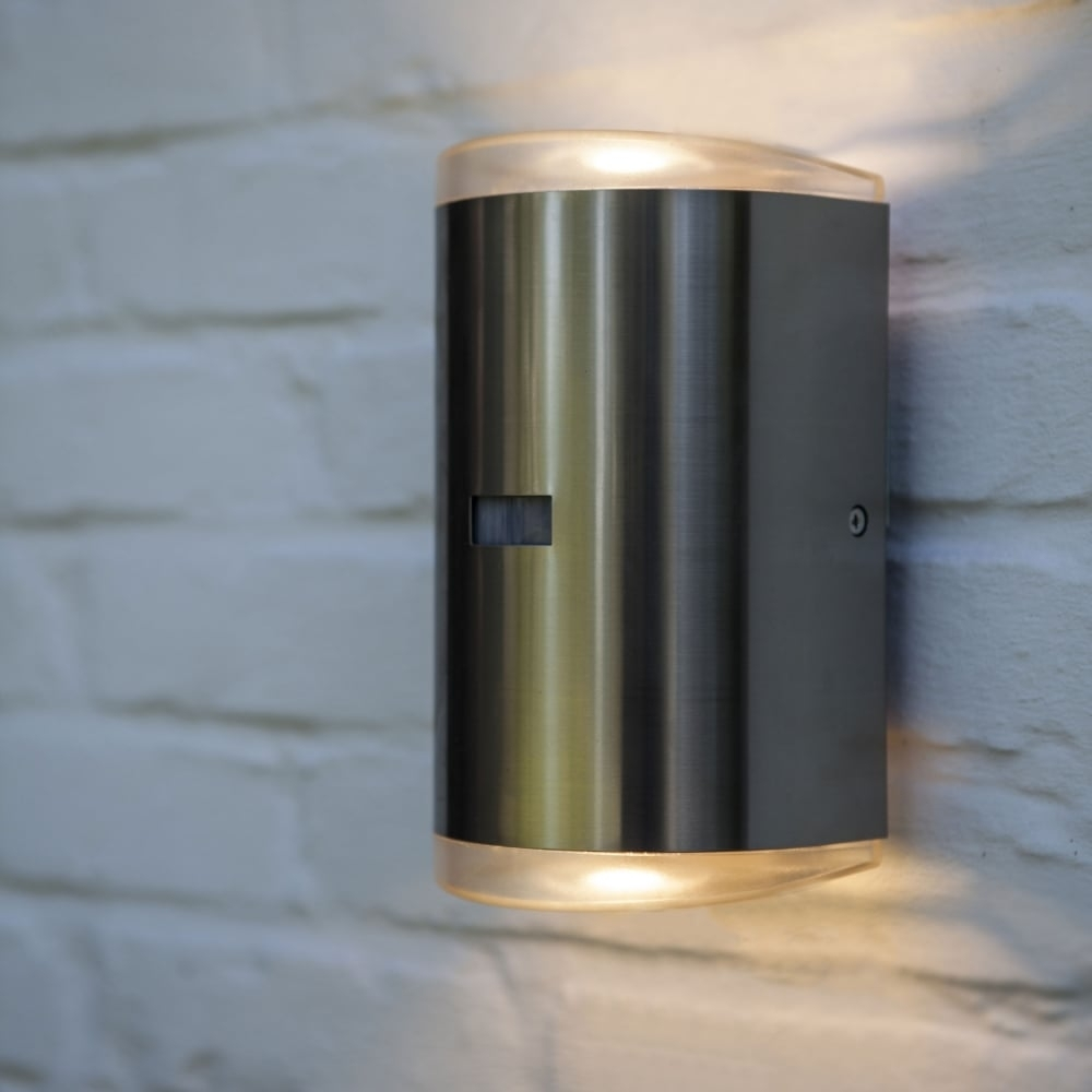 Lutec Path Pir 16W Exterior Led Up And Down Wall Light In Stainless Inside Outdoor Led Wall Lights With Pir (#7 of 15)