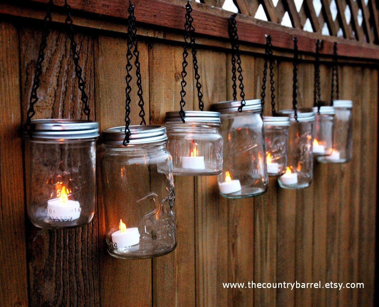 Inspiration about Mason Jar Lanterns Hanging Tea Lightthecountrybarrel On Etsy Pertaining To Hanging Outdoor Tea Light Lanterns (#1 of 15)