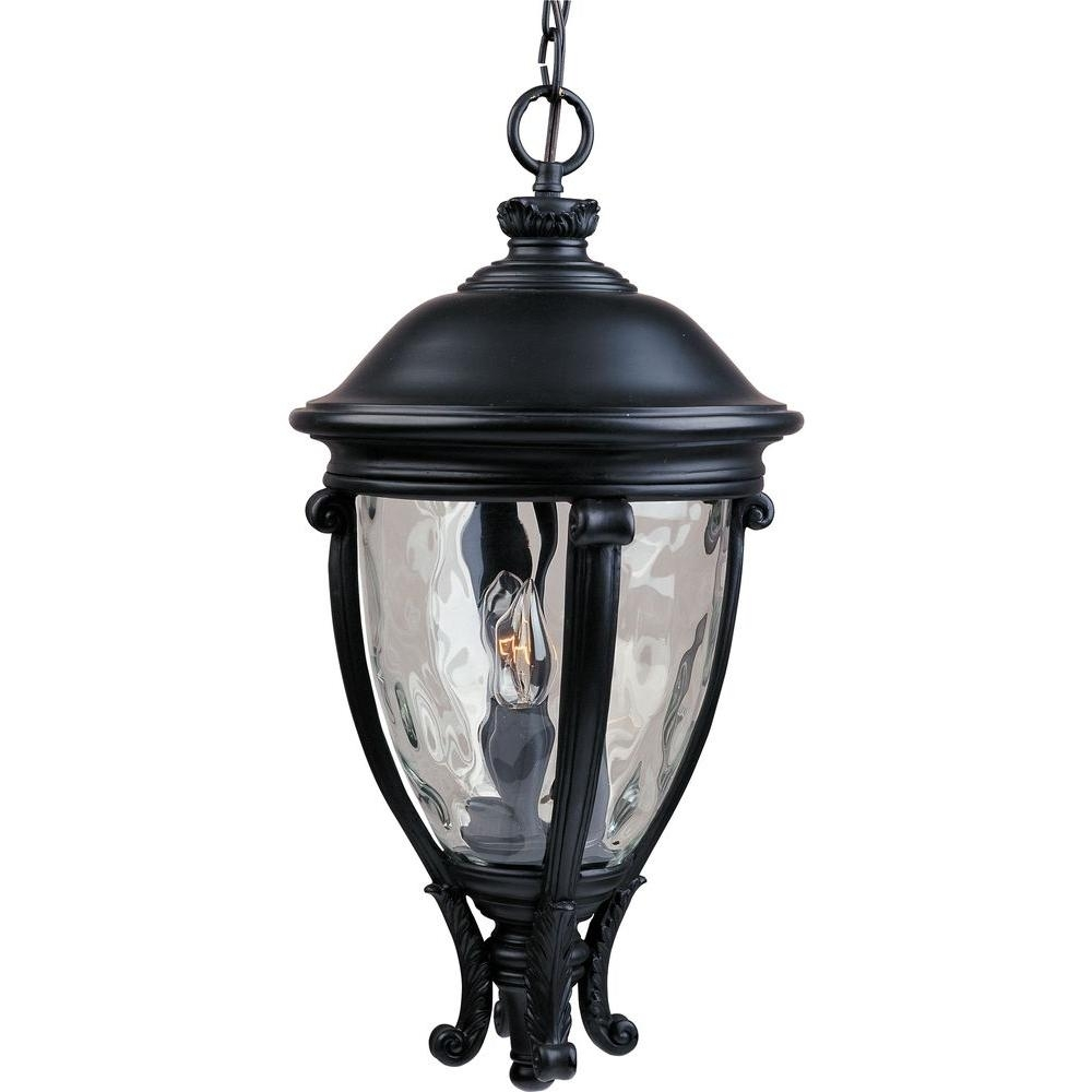 Maxim Lighting Camden Vx 3 Light Black Outdoor Hanging Lantern With Outdoor Hanging Post Lights (#8 of 15)