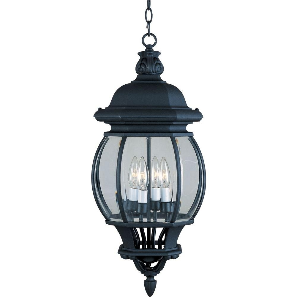 Inspiration about Maxim Lighting Crown Hill 4 Light Black Outdoor Hanging Lantern Within Traditional Outdoor Hanging Lights (#14 of 15)