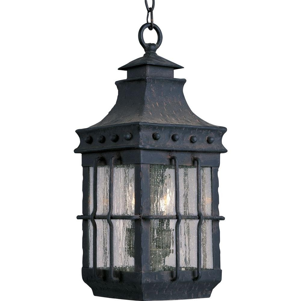Maxim Lighting Nantucket 3 Light Country Forge Outdoor Hanging With Regard To Outdoor Hanging Lantern Lights (View 11 of 15)