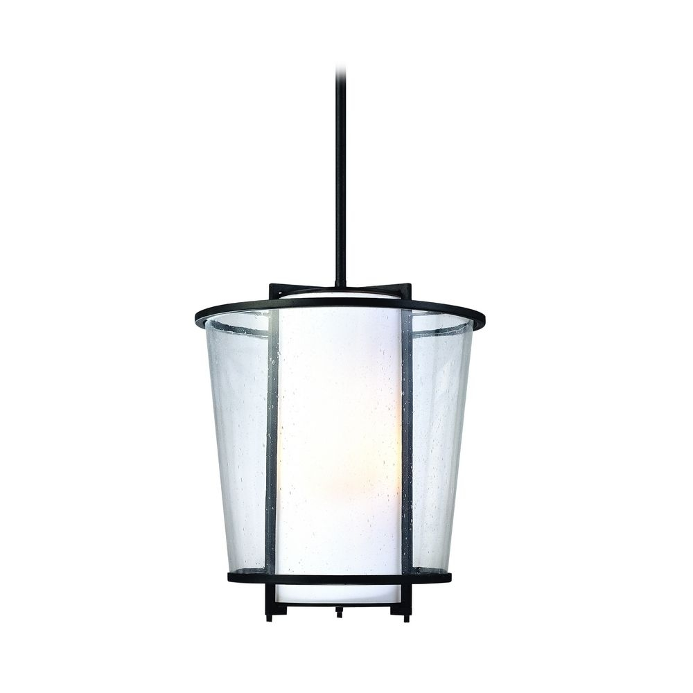 Modern Outdoor Hanging Light With White Glass In Forged Bronze With Modern Outdoor Hanging Lights (#11 of 15)
