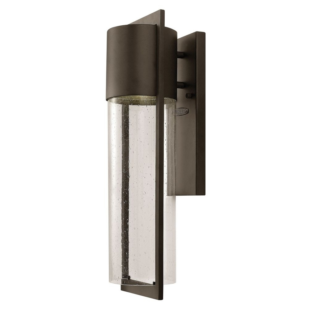 Modern Outdoor Wall Light Seeded Glass Bronze Hinkley Lighting Inside Contemporary Hinkley Lighting (#14 of 15)