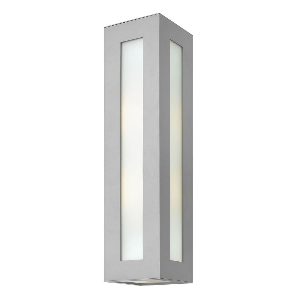 Modern Outdoor Wall Light With White Glass In Titanium Finish In Modern Outdoor Hinkley Lighting (#10 of 15)