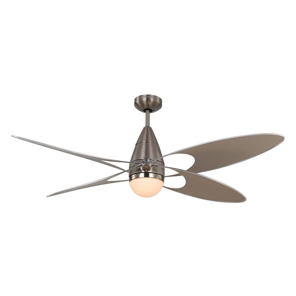 Inspiration about Monte Carlo Butterfly 54 In. Indoor/outdoor Brushed Steel Ceiling Regarding Outdoor Ceiling Fans With Lights At Home Depot (#15 of 15)