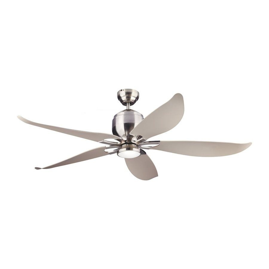 Monte Carlo Fan Company Lily 56 In Silver Downrod Mount Indoor In Outdoor Ceiling Fans With Bright Lights (#8 of 15)
