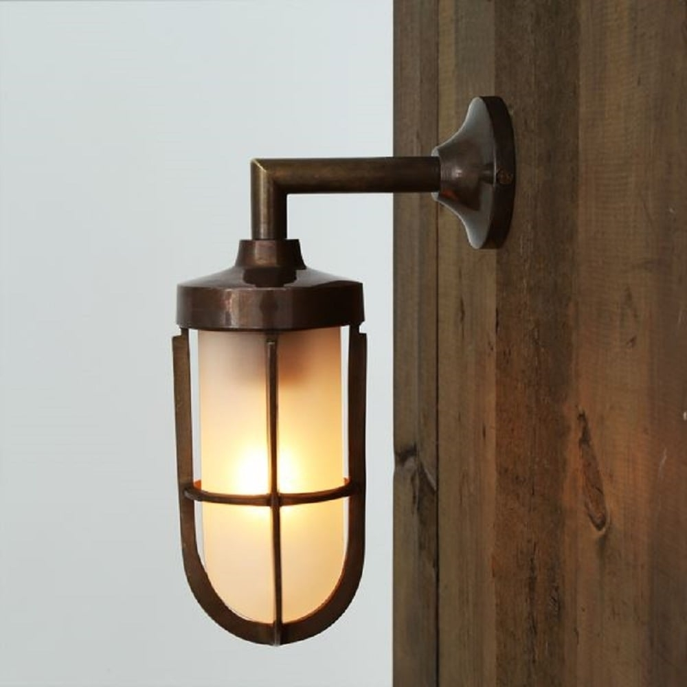 Nautical Design Solid Antique Brass Wall Light With Frosted Glass Shade With Regard To Industrial Outdoor Wall Lighting (#13 of 15)