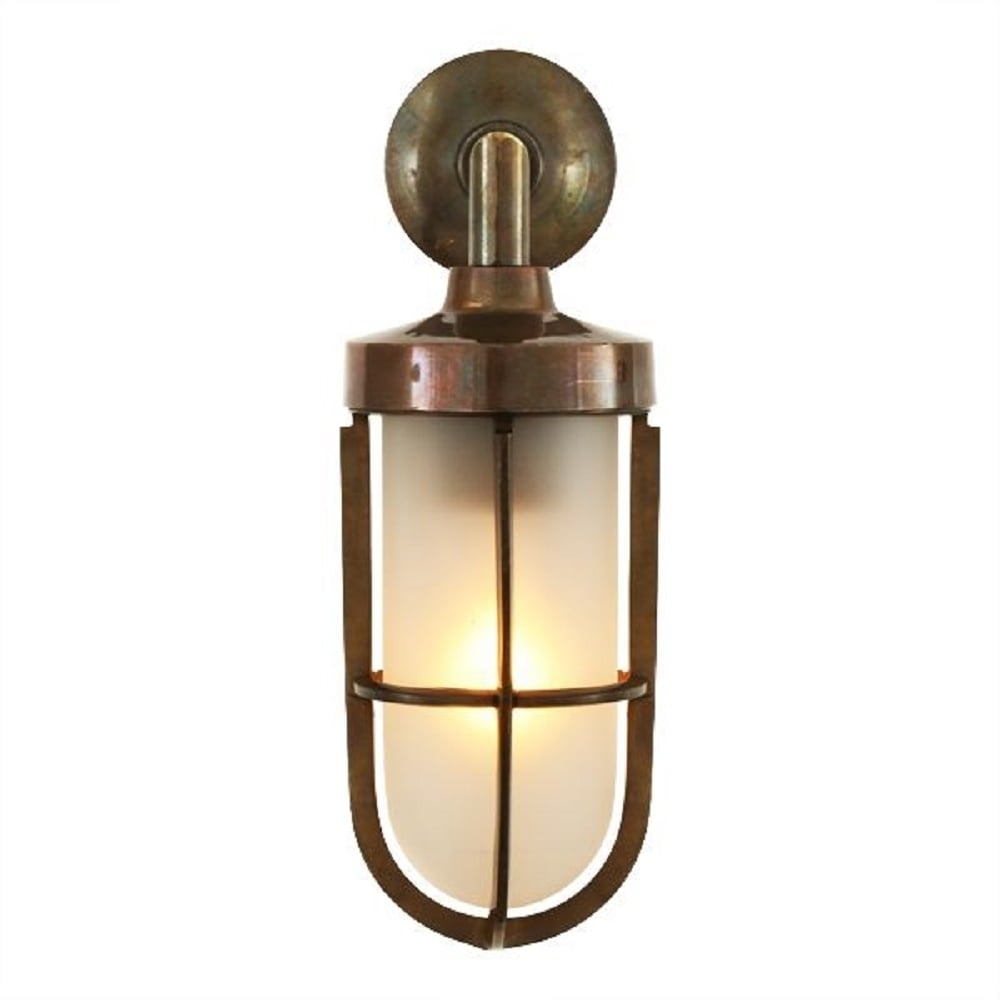 Nautical Design Solid Antique Brass Wall Light With Frosted Glass Shade With Regard To Nautical Outdoor Wall Lighting (#9 of 15)