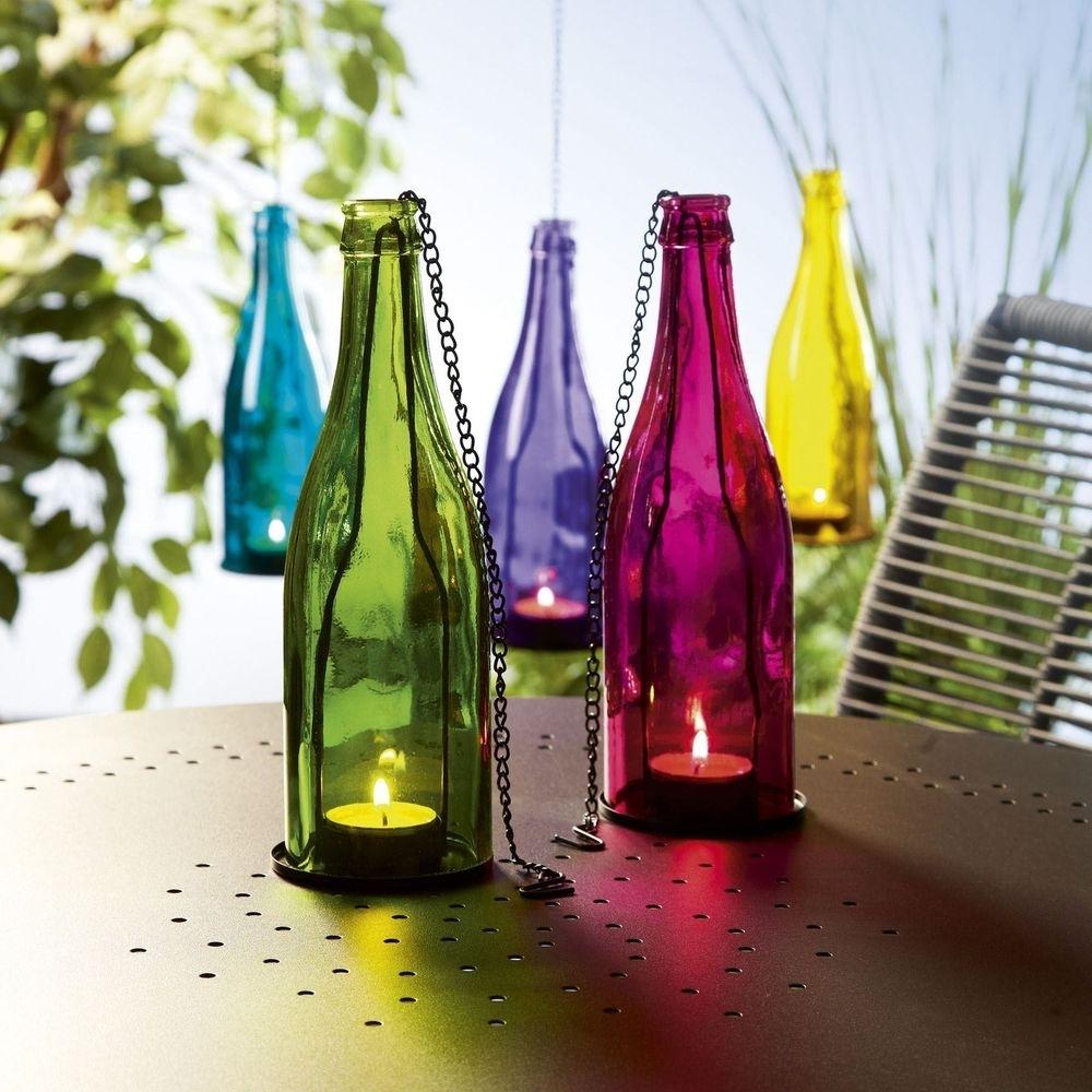 New Coloured Glass Bottle Tealight Holder Hanging Garden Lantern With Outdoor Hanging Bottle Lights (#14 of 15)