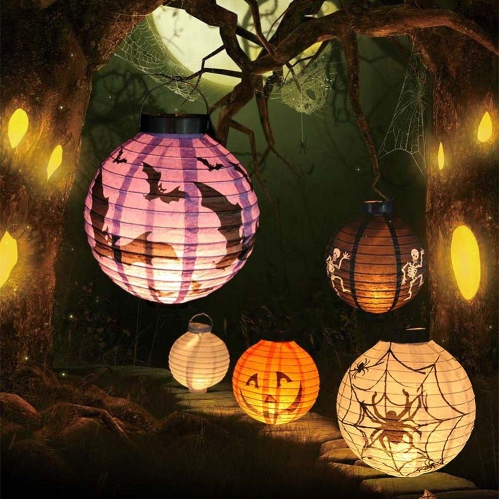 New Halloween Led Paper Pumpkin Hanging Lantern Diy Holiday Party Intended For Outdoor Hanging Chinese Lanterns (#10 of 15)