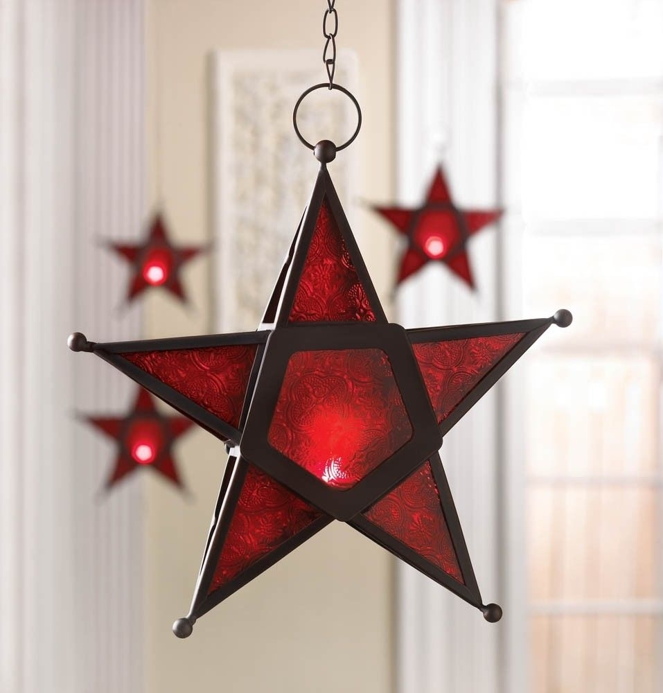 New Red Star Glass & Iron Candle Holder Lantern Lamp Indoors Outside With Regard To Outdoor Hanging Star Lanterns (#12 of 15)