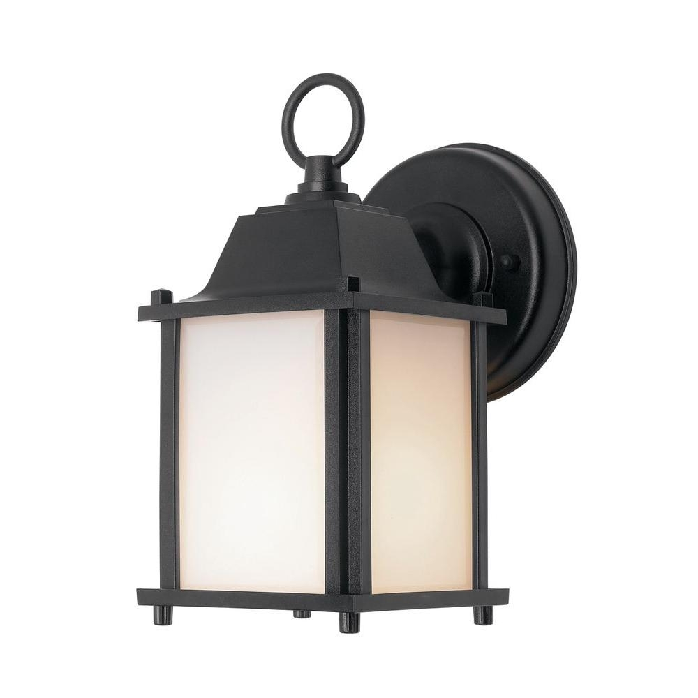 Newport Coastal Square Porch Light Black With Bulb 7974 01B – The Inside Battery Operated Outdoor Lights At Home Depot (#15 of 15)