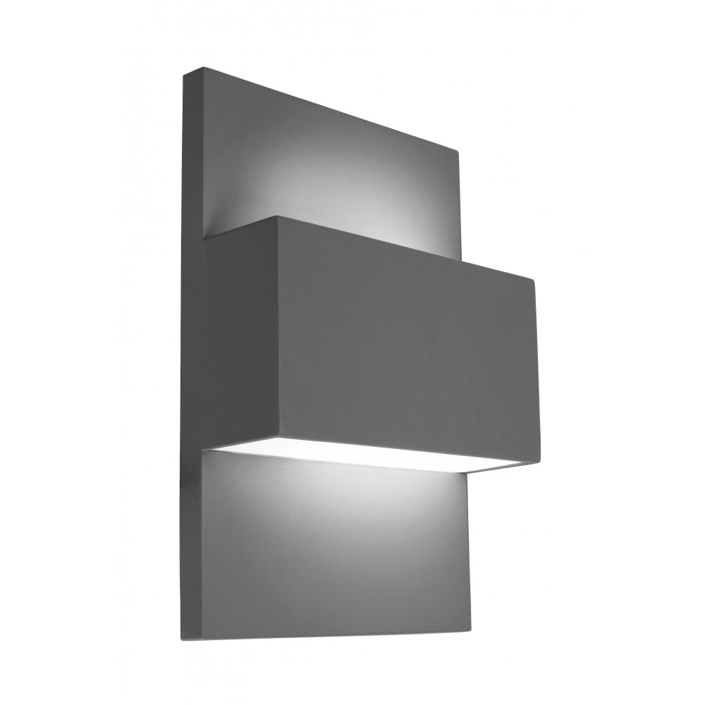 Norlys Geneve E27 40W Outdoor Up & Down Wall Light In Painted With Grey Outdoor Wall Lights (#11 of 15)