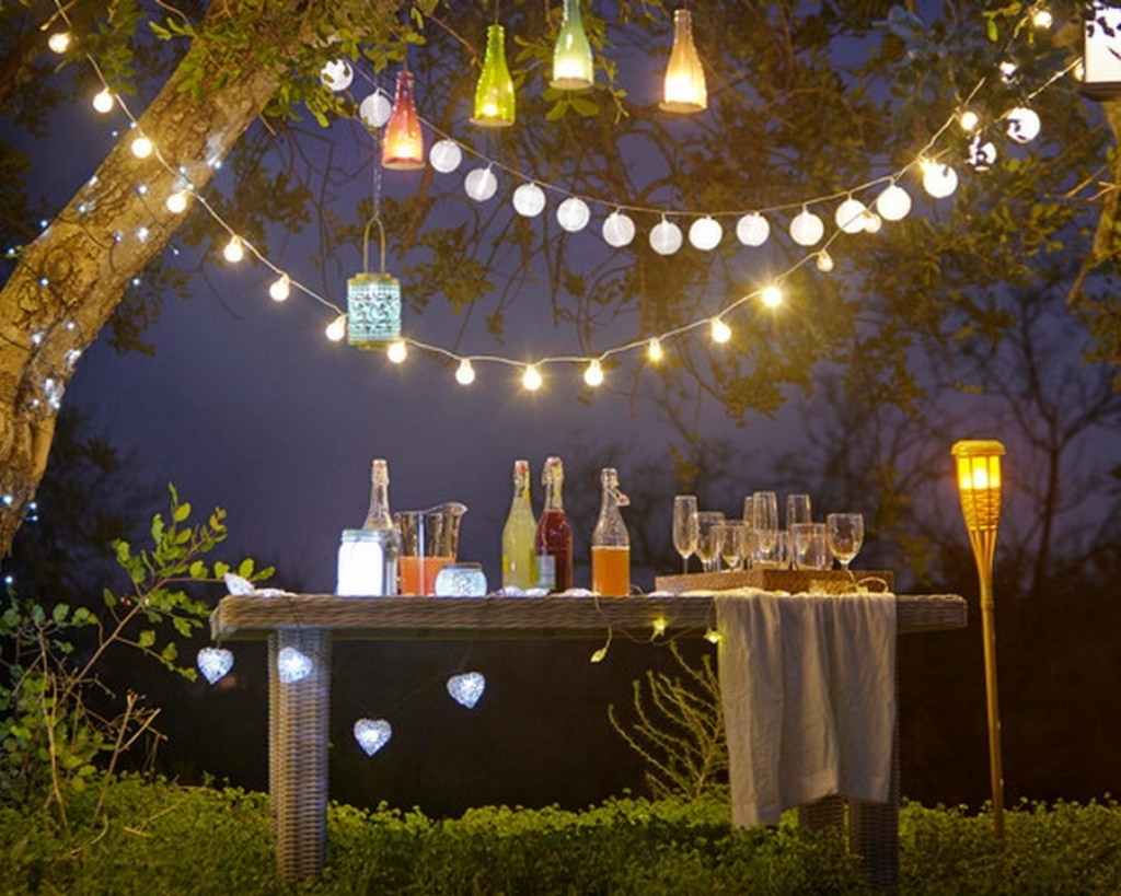 Outdoor And Patio: Attractive Outdoor Party Lighting With String With Regard To Outdoor Hanging Lanterns For Trees (View 9 of 15)