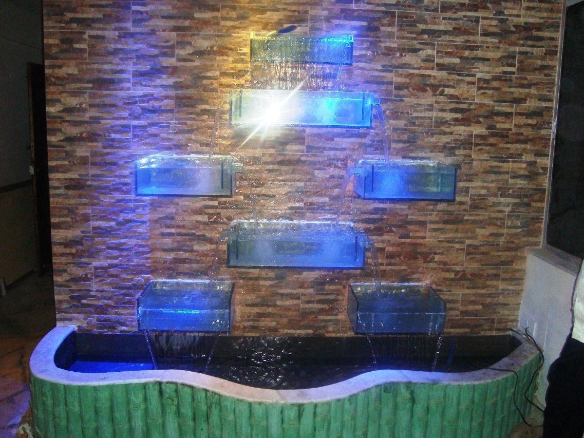 Outdoor And Patio: Modern Wall Fountains With Glass Lighting Box In Outdoor Rock Wall Lighting (#8 of 15)