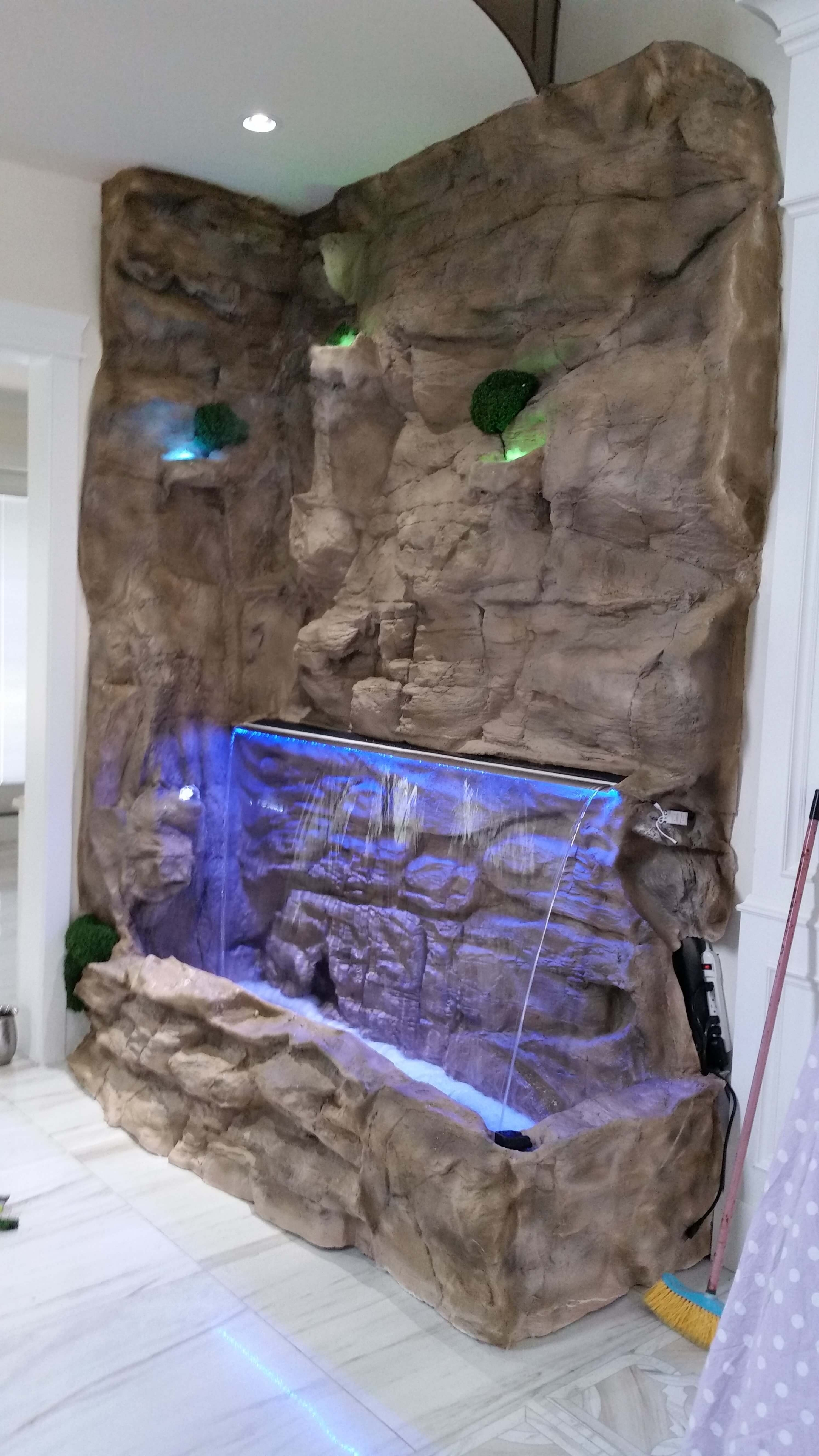 Outdoor And Patio: Rock Wall Fountains Indoor Ares With Lighting Within Outdoor Rock Wall Lighting (View 9 of 15)