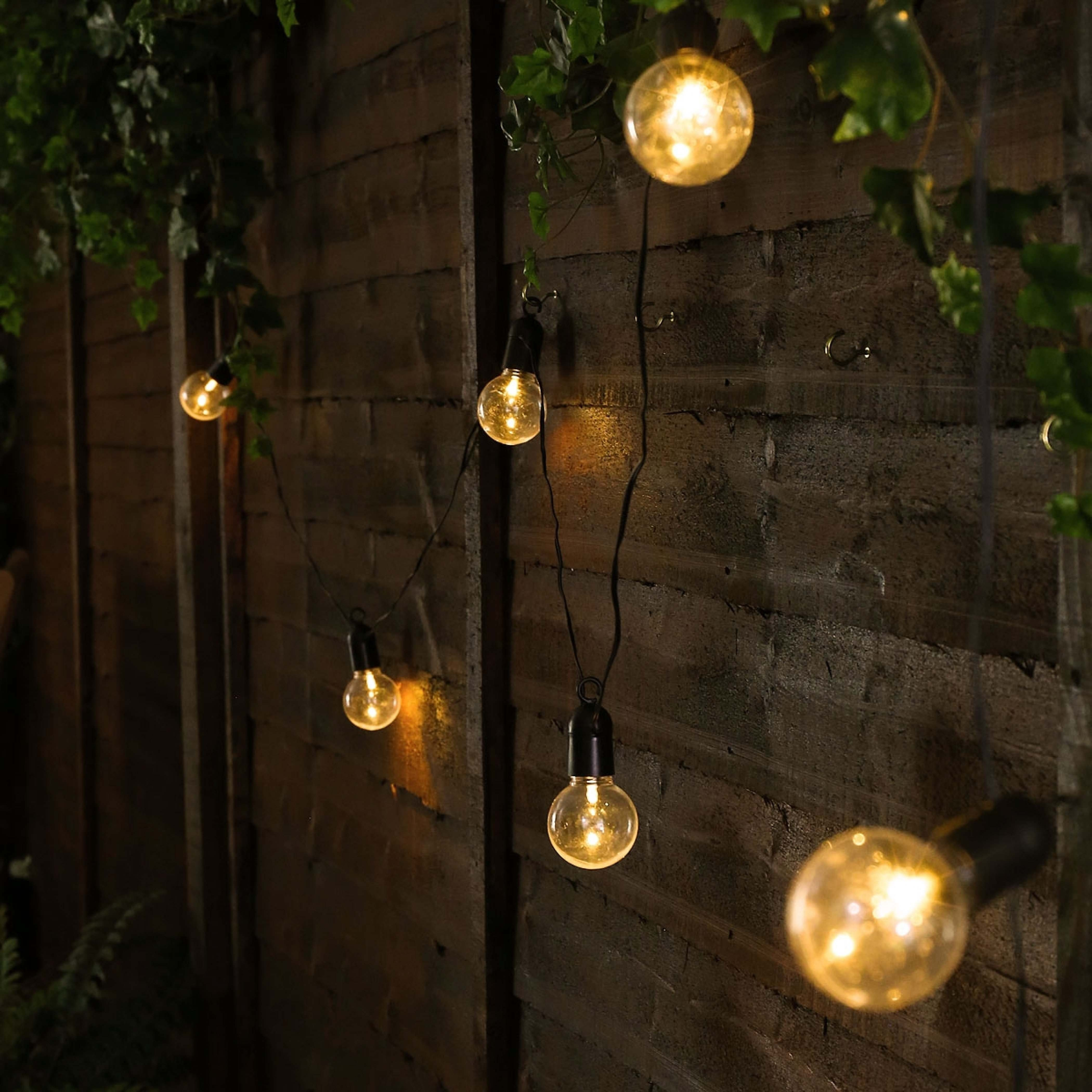 Outdoor Battery Festoon Lights, 10 Warm White Leds, Clear Bulbs Regarding Battery Operated Outdoor Lights (#13 of 15)