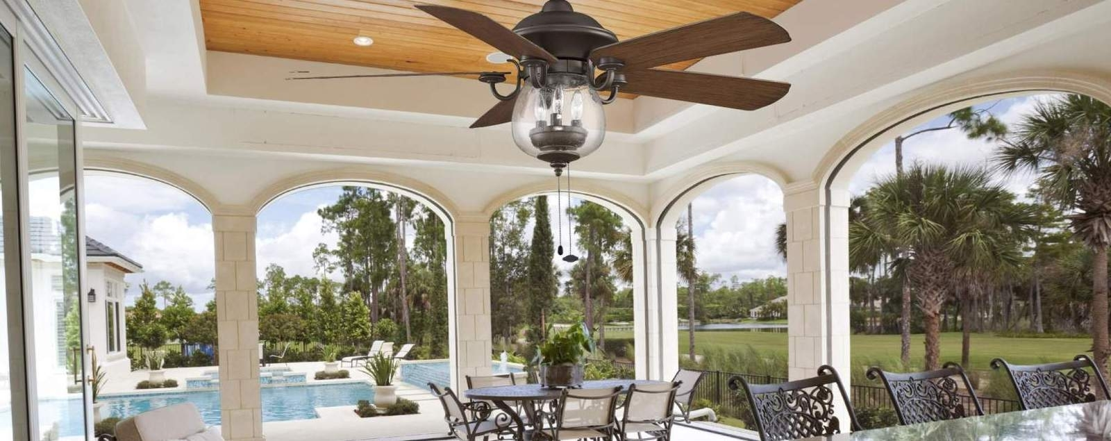 Outdoor Ceiling Fans – Choose Wet Rated Or Damp Rated For Your Space! Inside Wet Rated Outdoor Ceiling Lights (View 13 of 15)