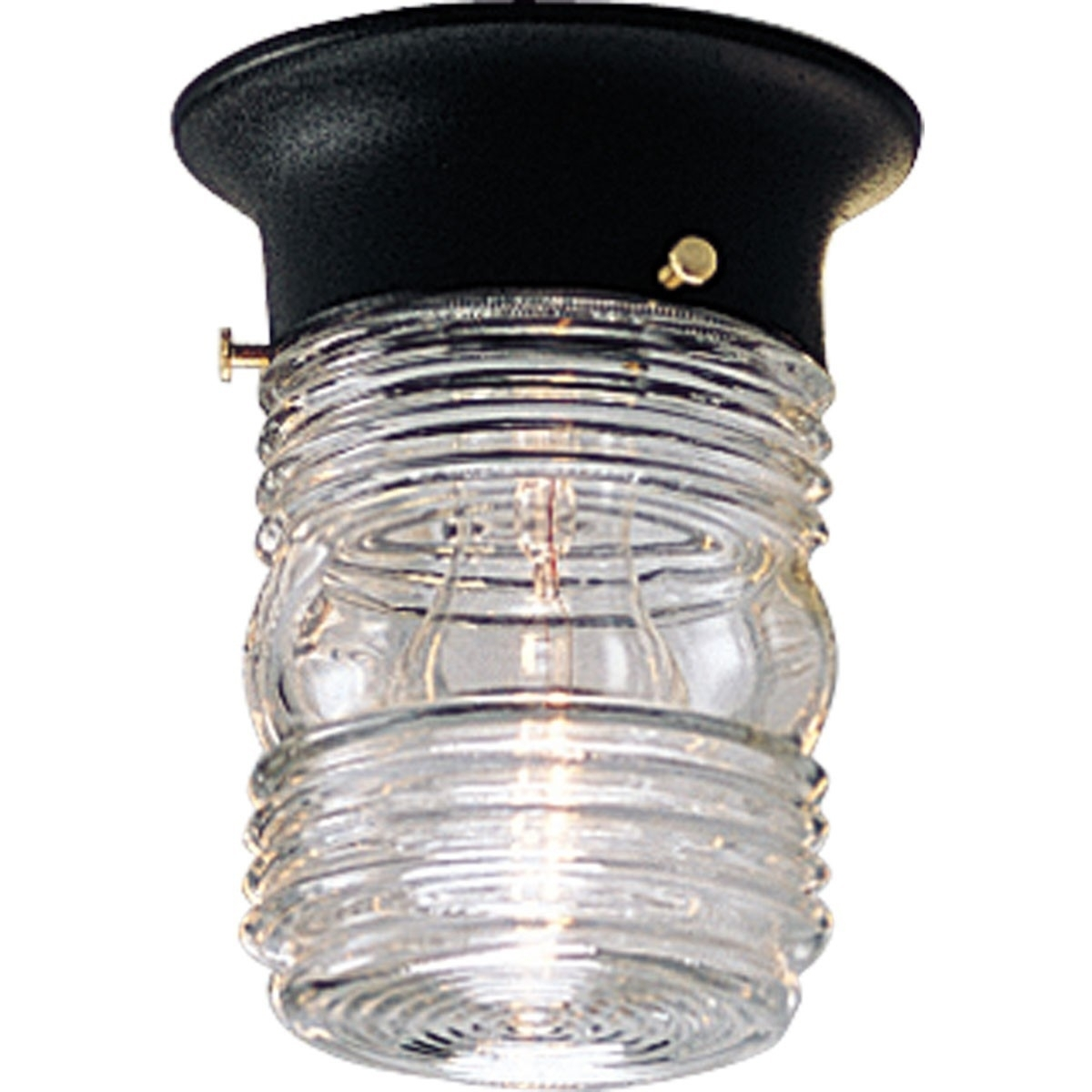 Outdoor Ceiling Flush Mount Light Fixture With Clear Marine Glass Intended For Black Outdoor Ceiling Lights (#13 of 15)