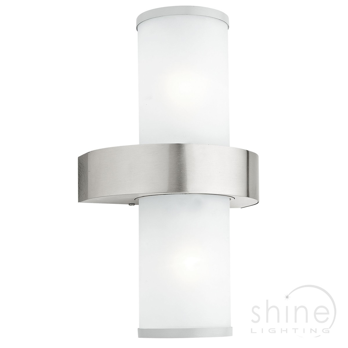 Outdoor Garden Double Wall Light. Silver With Frosted Glass (View 15 of 15)