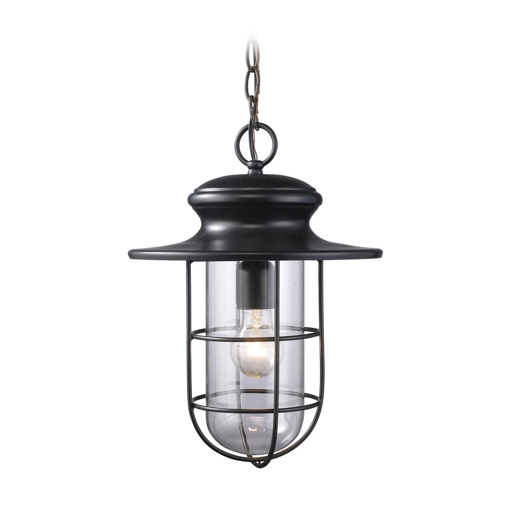 Outdoor Hanging Light With Clear Glass In Matte Black Finish | 42286 Within Outdoor Hanging Light In Black (#9 of 15)