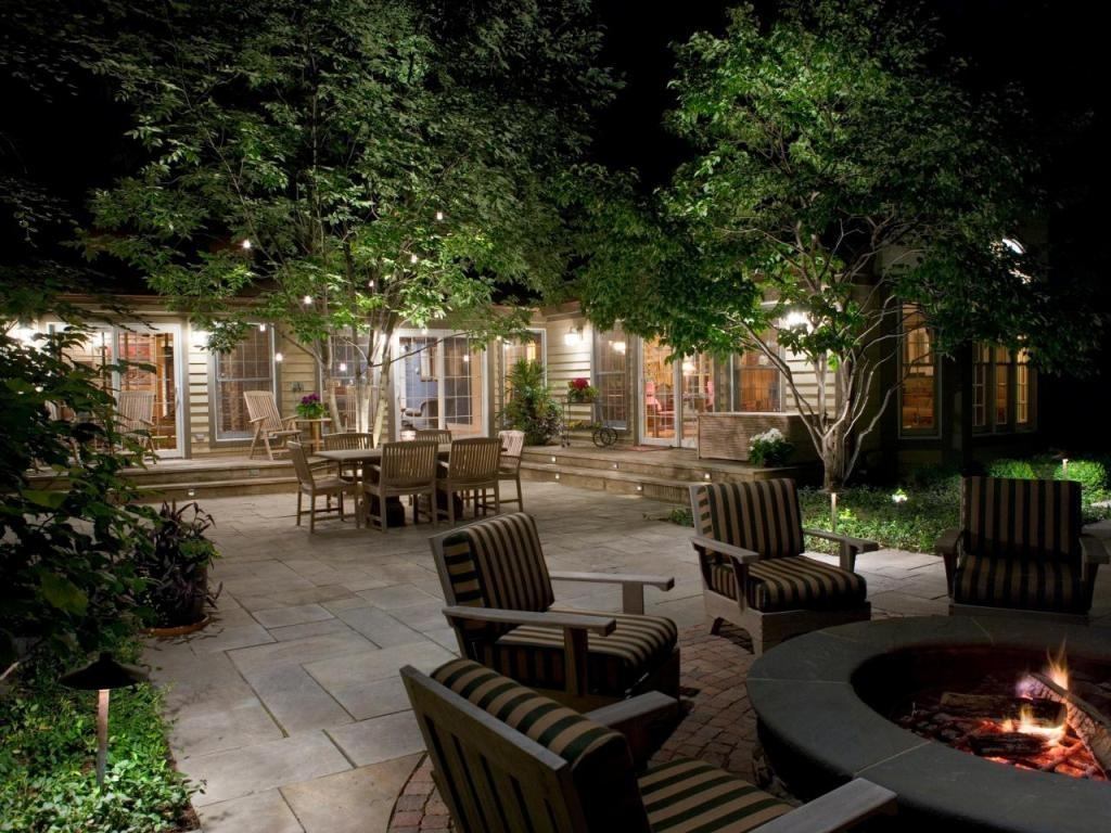 Outdoor Hanging Lights With Comfortable Chairs And Round Fire Pit Intended For Outdoor Hanging Lights For Patio (View 10 of 15)