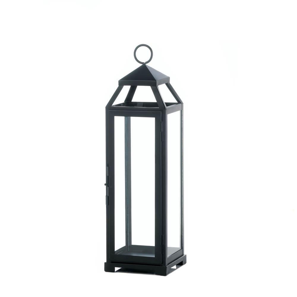 Outdoor Lanterns, Large Lean Sleek Metal Decorative Floor Patio For Outdoor Hanging Metal Lanterns (#9 of 15)