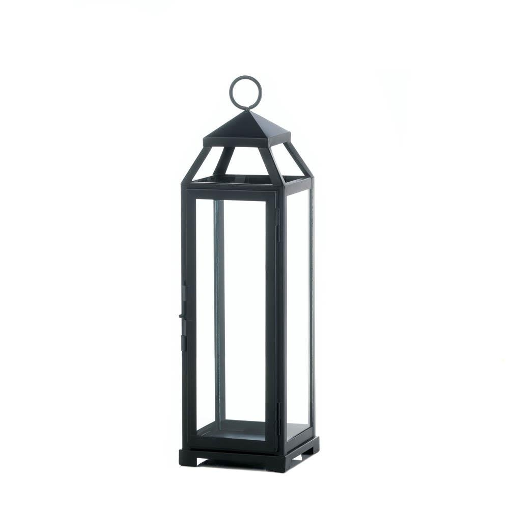 Outdoor Lanterns, Large Lean Sleek Metal Decorative Floor Patio Pertaining To Outdoor Hanging Decorative Lanterns (View 12 of 15)