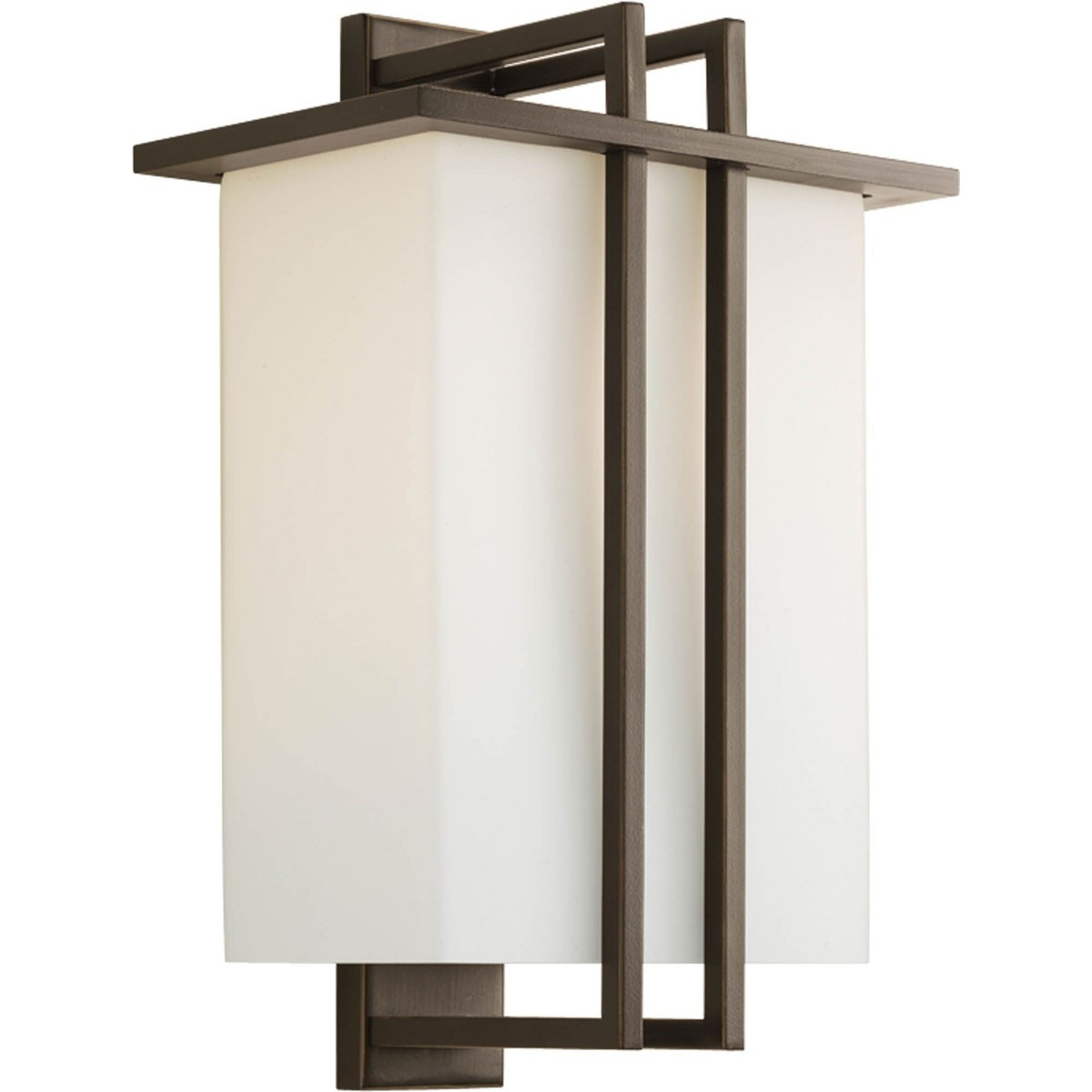Outdoor Large Wall Lantern With Etched Opal Shades – Progress With Regard To Large Outdoor Wall Light Fixtures (#13 of 15)