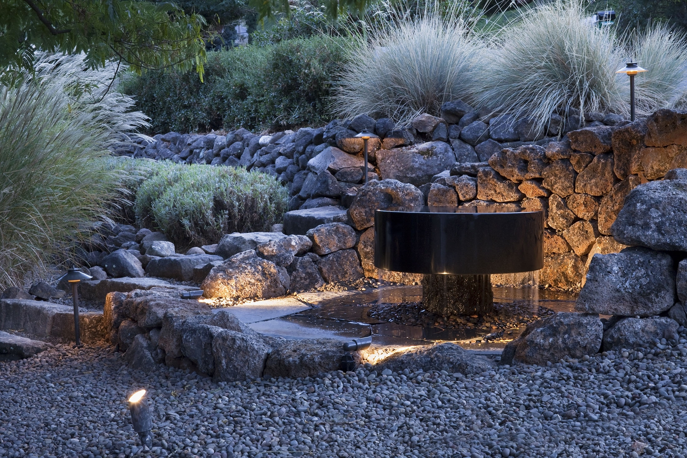 Outdoor Lighting — Solid Ground Landscape | Ashland, Oregon Within Outdoor Rock Wall Lighting (#12 of 15)