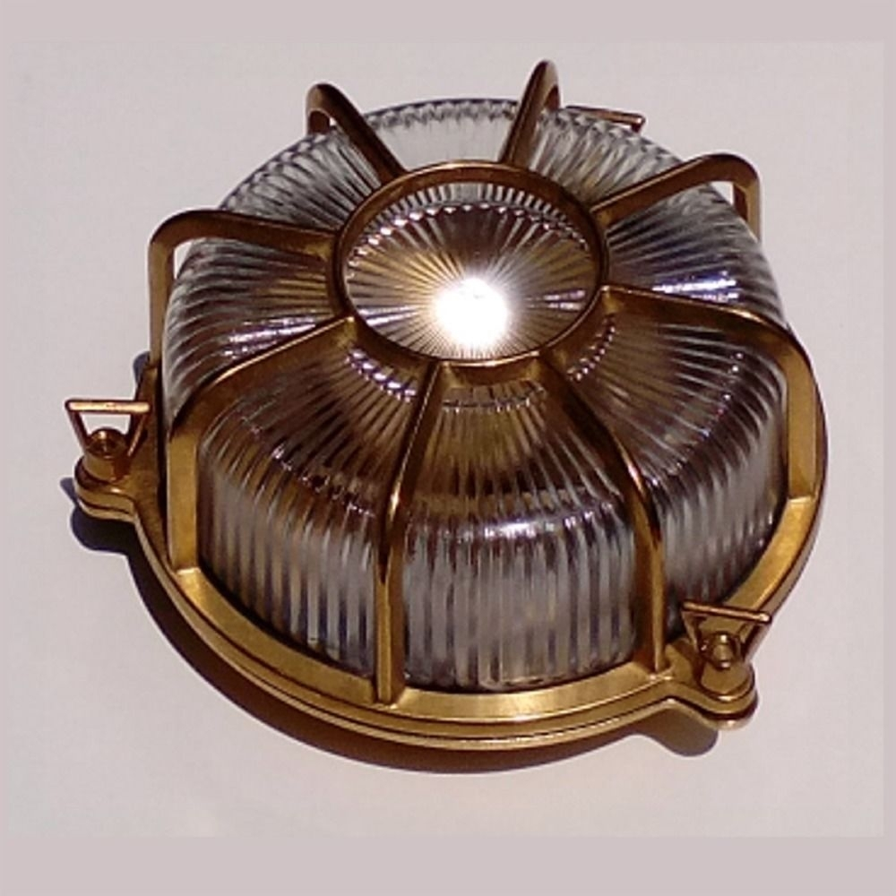 Outdoor Round Brass Wall Light (#10 of 15)