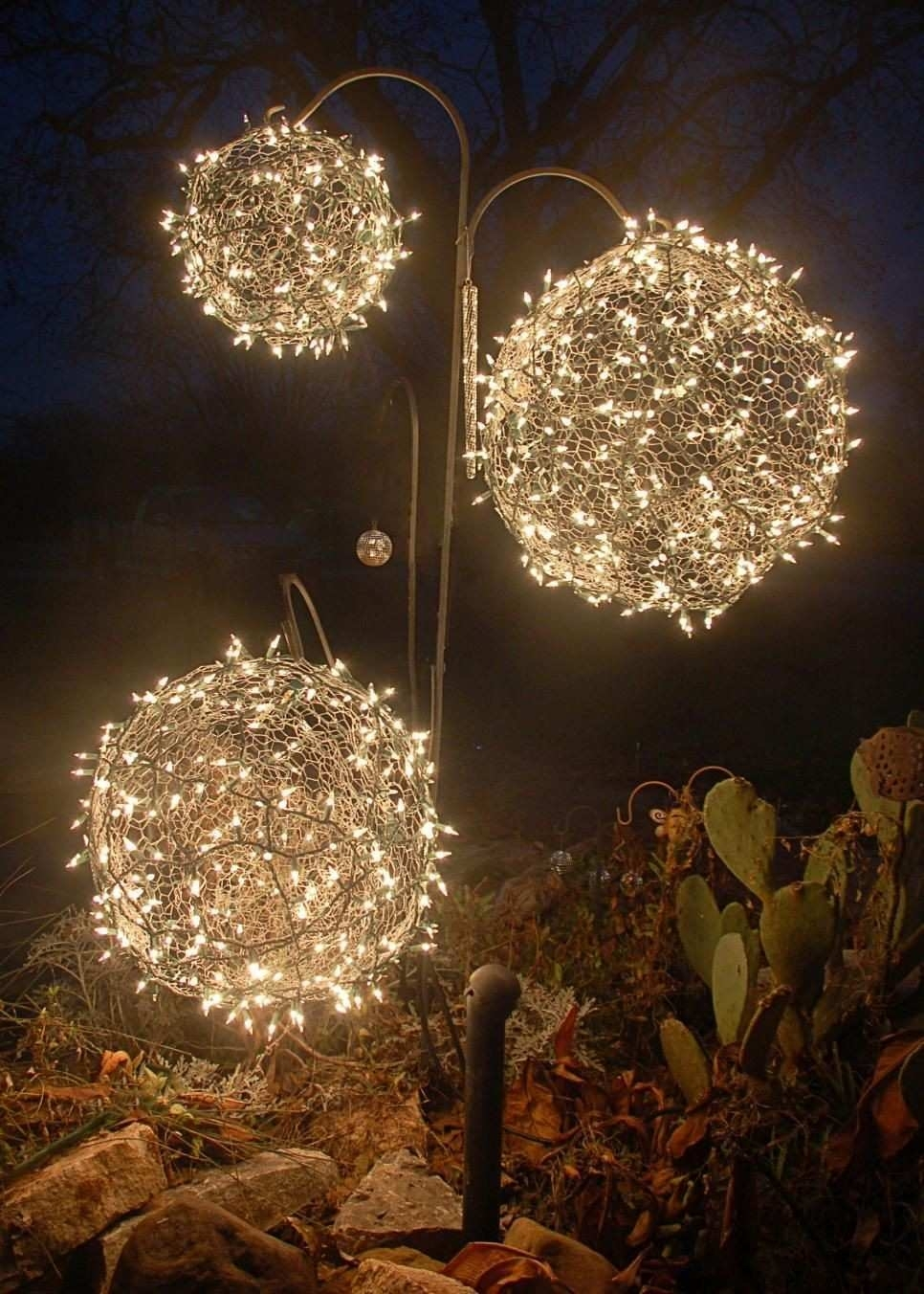 Outdoor Sphere Lights Unique Diy Chandelier Hanging Basket Watch The Pertaining To Outdoor Hanging Sphere Lights (View 7 of 15)