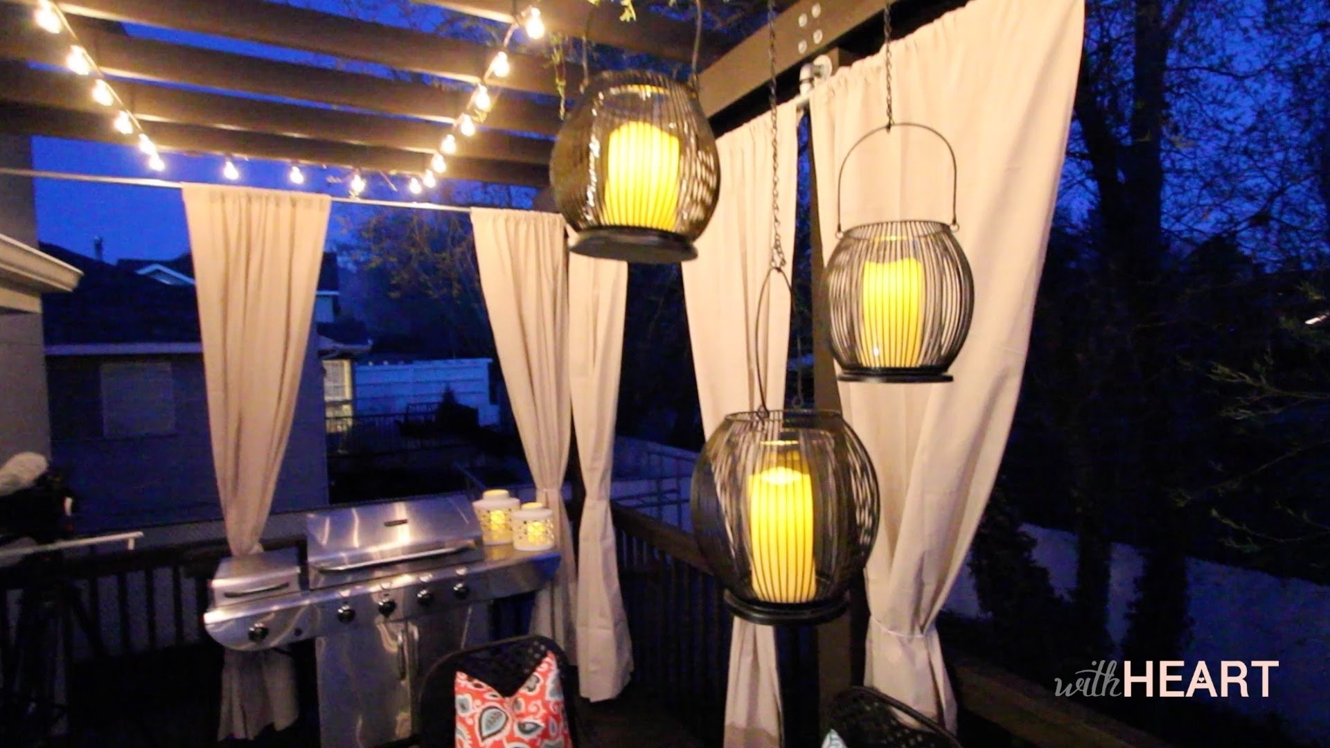 Outdoor String Lights And Hanging Lanterns Withheart Youtube Pertaining To Outdoor Hanging Lanterns For Patio (View 8 of 15)
