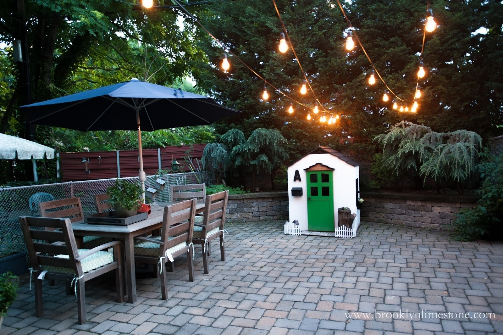 Outdoor String Lights Hung | Brooklyn Limestone Pertaining To Garden And Outdoor String Lights (#15 of 15)
