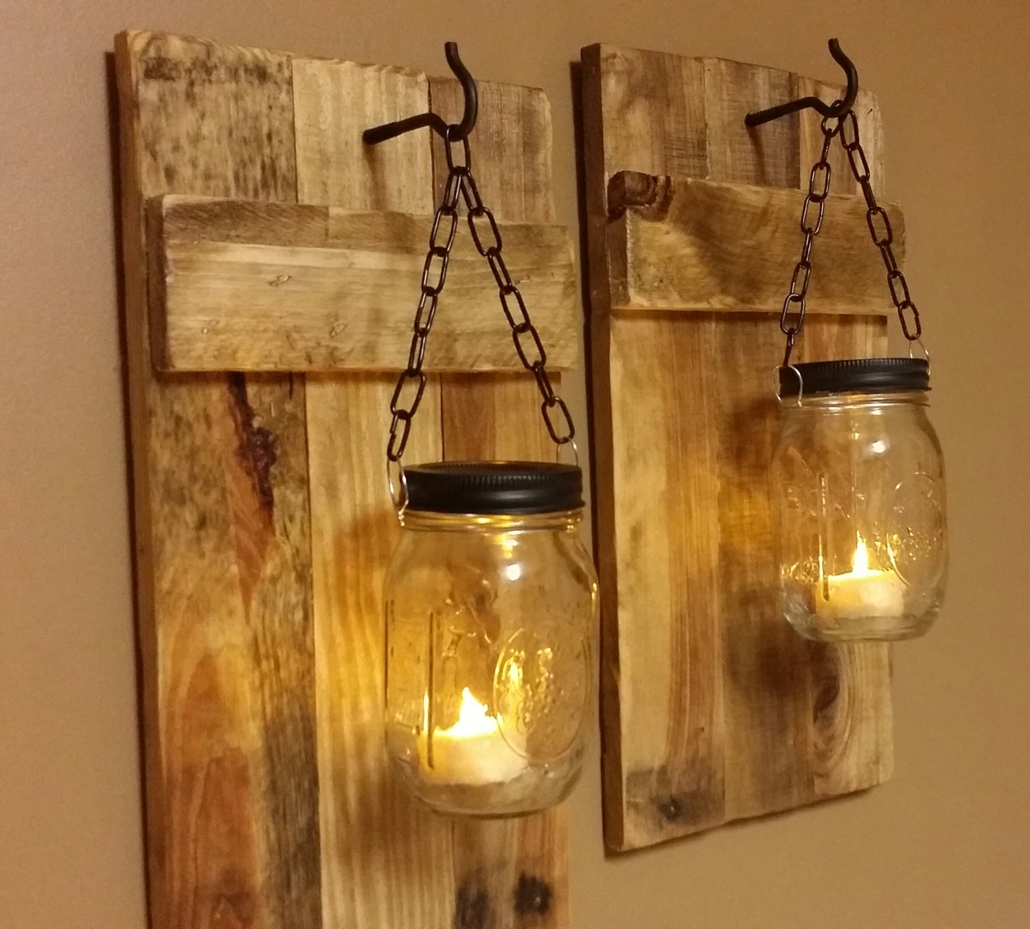 Outdoor Wall Lighting Ideas With Diy Hanging Mason Jar Candle With Regard To Outdoor Hanging Mason Jar Lights (View 5 of 15)