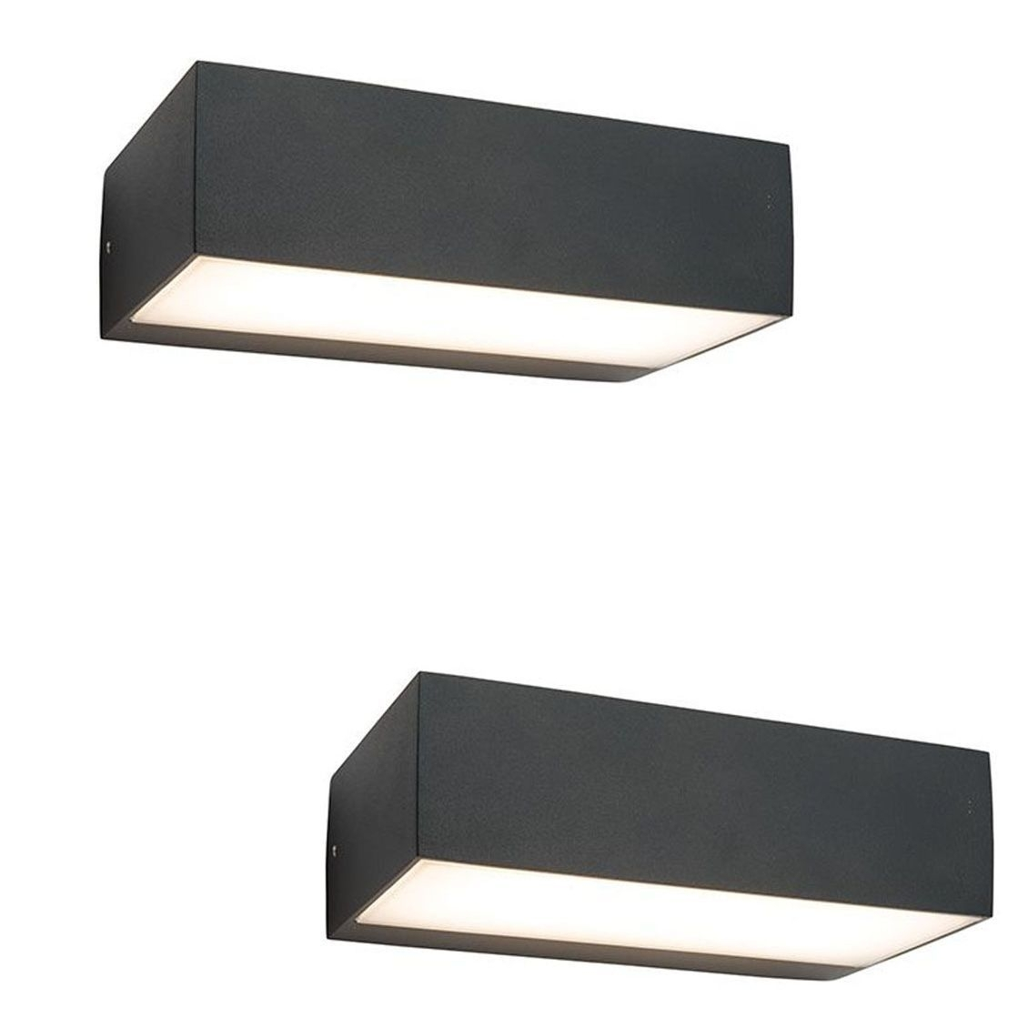 Pair Saxby 61338 Kempton Matt Black Rectangular Outdoor Led Up Down With Rectangle Outdoor Wall Lights (#10 of 15)