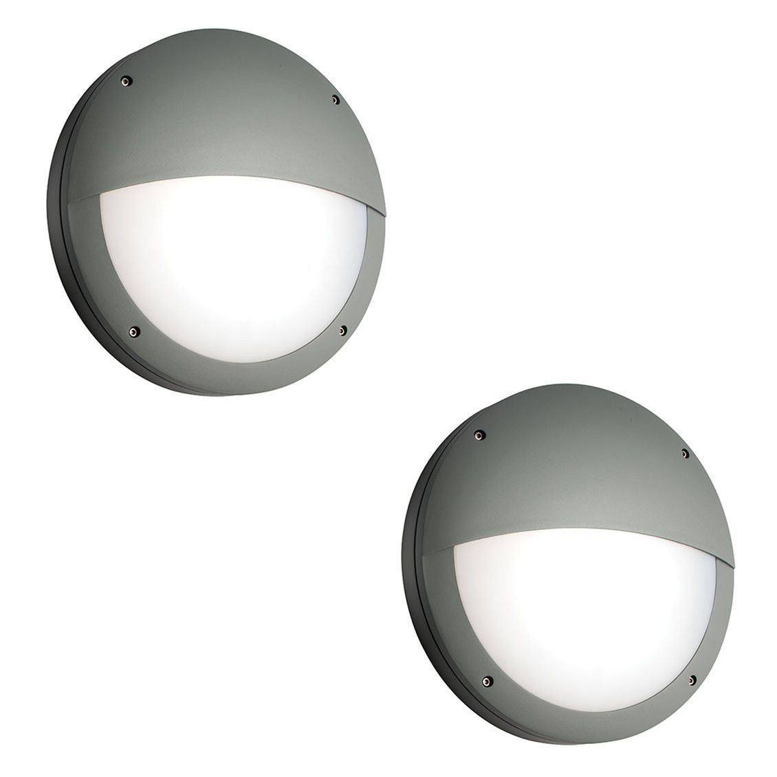 Pair Saxby 61754 Luik Eyelid Grey Aluminium Round Led Outdoor Wall Light For Grey Outdoor Wall Lights (#13 of 15)