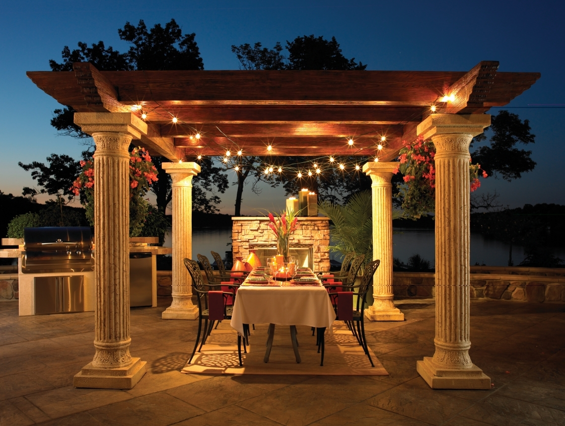 Inspiration about Patio Ideas: Exterior Outdoor Hanging Lanterns With Dining Table Throughout Outdoor Hanging Lanterns (#14 of 15)