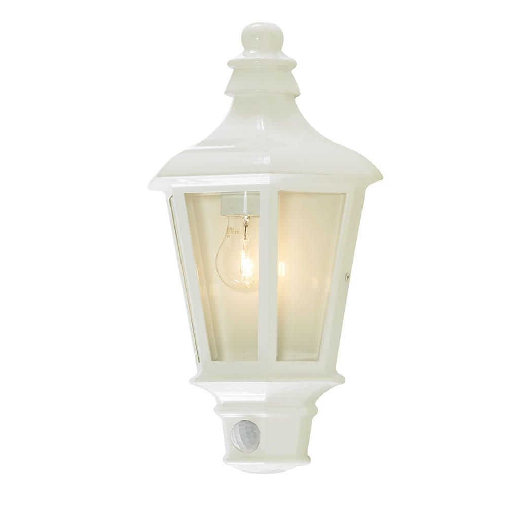Inspiration about Perry Outdoor Pir Half Lantern – White From Litecraft Regarding Half Lantern Outside Wall Lights (#8 of 15)