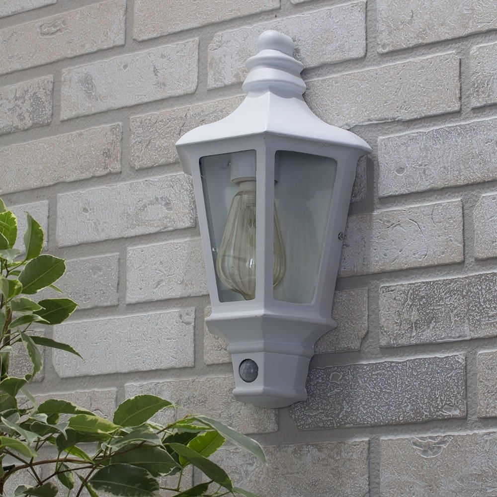Inspiration about Perry Outdoor Pir Half Lantern – White From Litecraft Regarding Half Lantern Outside Wall Lights (#7 of 15)