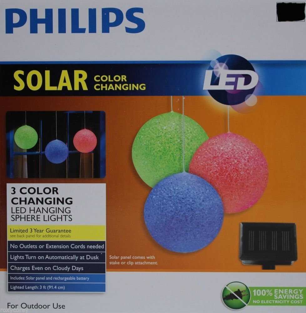 Philips Solar 3 Led Color Changing Hanging Sphere Lights Outdoor Use Regarding Outdoor Hanging Sphere Lights (View 13 of 15)