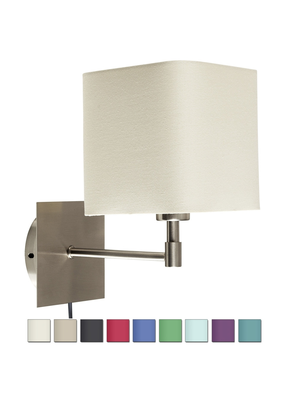Plug In Brushed Chrome Wall Light With Fabric Shade | Conservatory Intended For Tesco Outdoor Wall Lighting (#13 of 15)