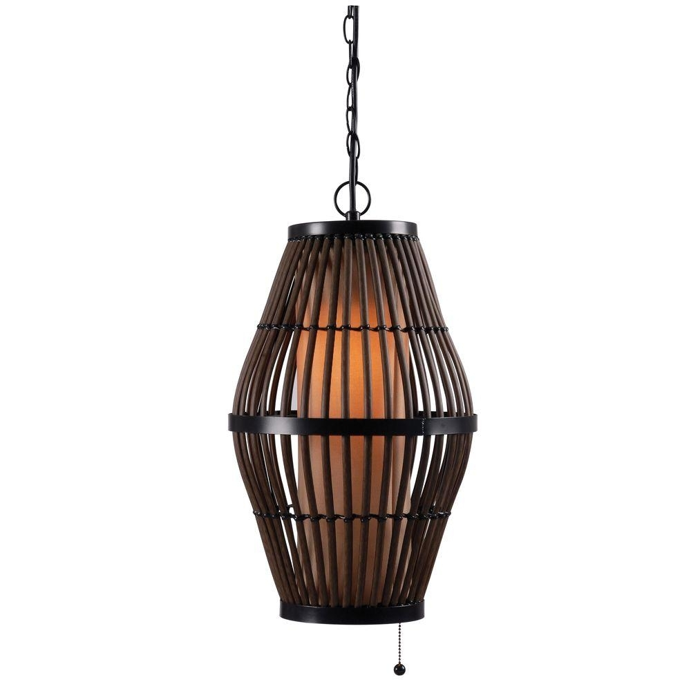Plug In – Outdoor Ceiling Lighting – Outdoor Lighting – The Home Depot In Outdoor Hanging Wicker Lights (#14 of 15)
