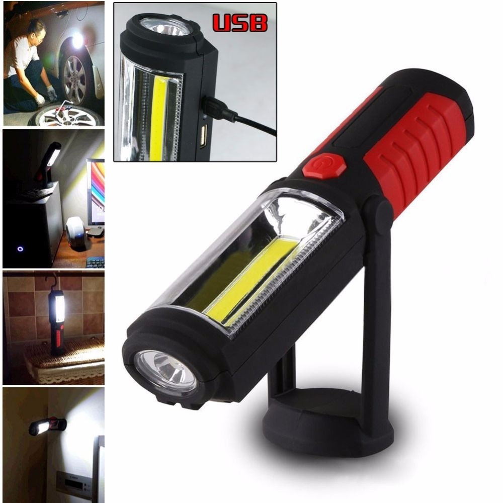 Portable Usb Rechargeable Cob Led Flashlight Torch Work Light Stand Within Outdoor Hanging Work Lights (#15 of 15)