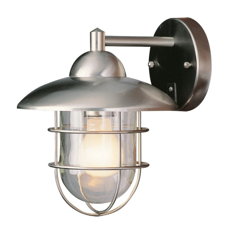 Portfolio 10 1/4 In Steel Stainless Outdoor Wall Mounted Light Regarding Outside Wall Globe Lights (#12 of 15)