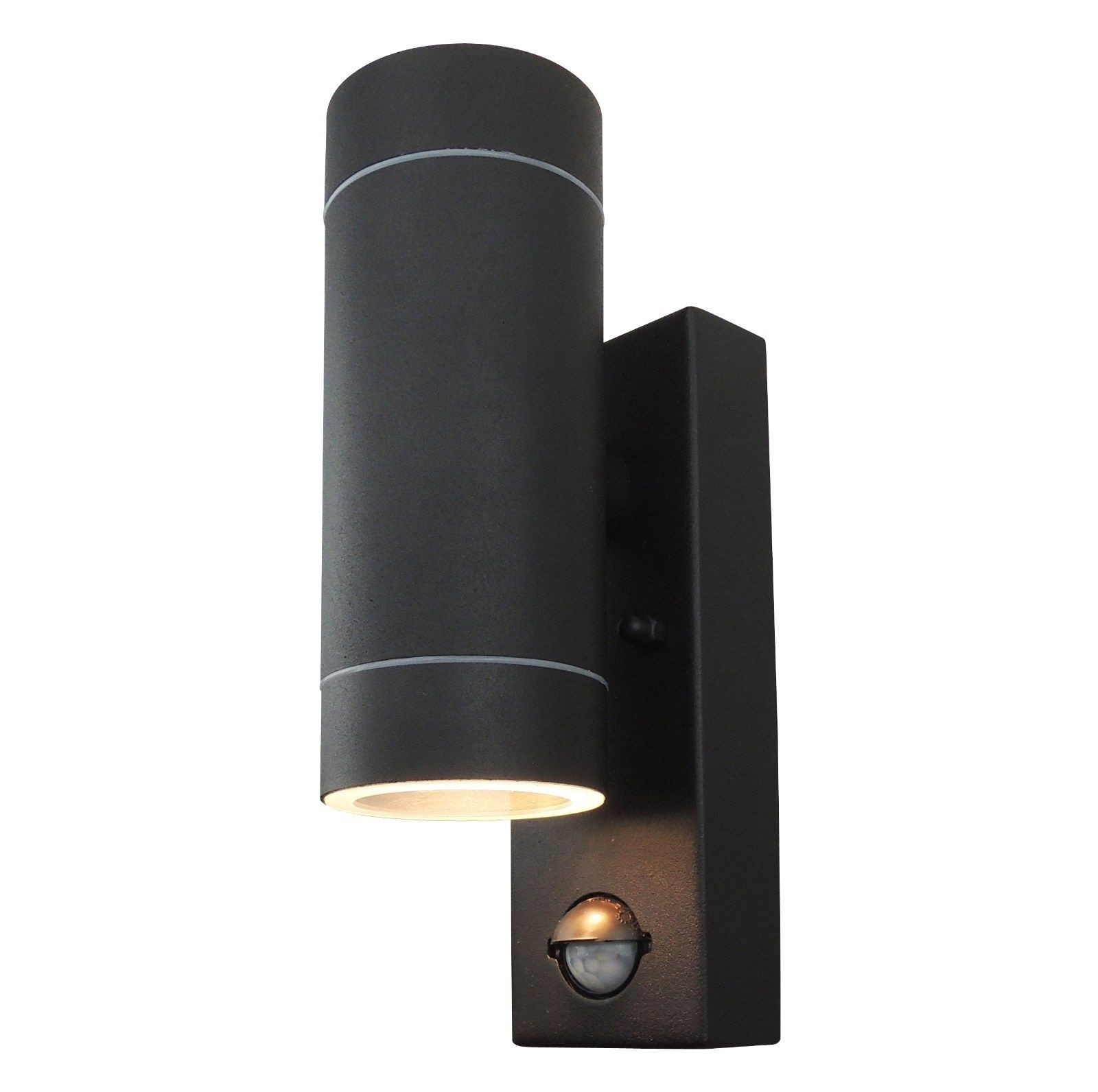 Powersave Black Outdoor Up Down Wall Light With Pir Motion Sensor Inside Outdoor Pir Wall Lights (#13 of 15)