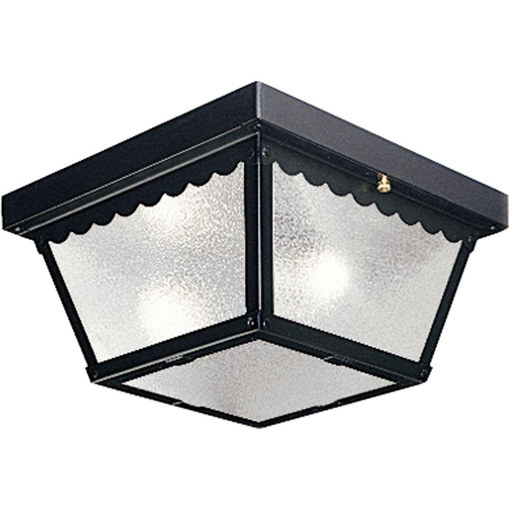 Progress Lighting 2 Light Black Outdoor Flushmount P5729 31 – The With Regard To Outdoor Ceiling Spotlights (View 10 of 15)